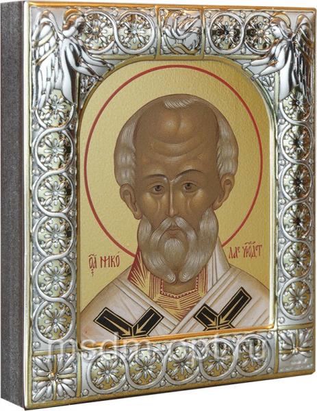 .Николай чудотворец, архиепископ Мир Ликийских, святитель, икона  в посеребренной рамке, золочение,  88 х 104 мм (арт.00702-15)