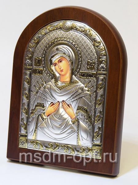 Семистрельная икона Божией Матери, серебряная икона