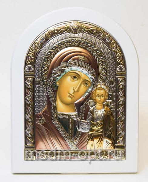 Казанская икона Божией Матери, серебряная икона, цветная