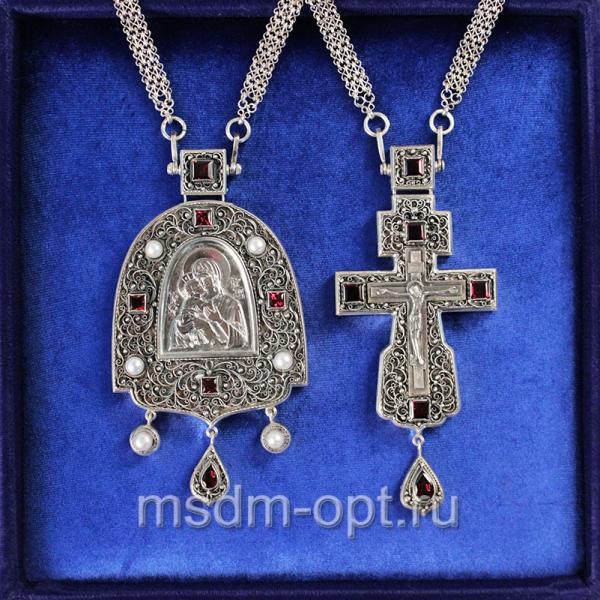 Крест и Панагия Владимирская Божия Матерь. Двойник (арт.28394)