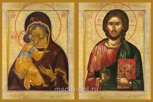 Венчальная пара икон Господь Вседержитель (арт.01047) и Божия Матерь Владимирская (арт.02094)