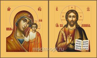 Венчальная пара икон Господь Вседержитель (арт.04107) и Божия Матерь Казанская (арт.04207)