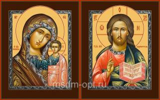 Венчальная пара икон Господь Вседержитель (арт.04112) и Божия Матерь Казанская (арт.04212) с-2
