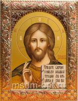 Господь Вседержитель, икона  в серебряной рамке, золочение, красная эмаль, 140 х 180 мм (арт.00110-55)