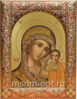 Казанская икона Божией Матери, икона  в серебряной рамке, золочение, красная эмаль, 140 х 180 мм (арт.00210-55)