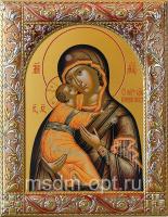 Владимирская икона Божией Матери, икона  в серебряной рамке, золочение, красная эмаль, 140 х 180 мм (арт.00378-55)