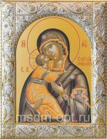 Владимирская икона Божией Матери, икона  в серебряной рамке, золочение, 140 х 180 мм (арт.00378-55)