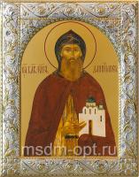 Даниил Московский благоверный князь, икона  в серебряной рамке, золочение, 140 х 180 мм (арт.00412-55)