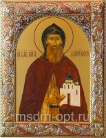 Даниил Московский благоверный князь, икона  в серебряной рамке, золочение, красная эмаль, 140 х 180 мм (арт.00412-55)
