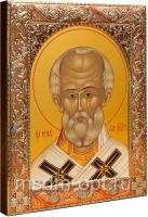 .Николай чудотворец, архиепископ Мир Ликийских, святитель, икона в посеребренной рамке, золочение, красная эмаль, 140 х 180 мм (арт.00702-55)
