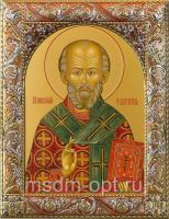 .Николай чудотворец, архиепископ Мир Ликийских, святитель, икона в серебряной рамке, золочение, красная эмаль, 140 х 180 мм (арт.00728-55)