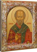 .Николай чудотворец, архиепископ Мир Ликийских, святитель, икона в посеребренной рамке, золочение, красная эмаль, 140 х 180 мм (арт.00728-55)