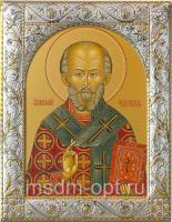 .Николай чудотворец, архиепископ Мир Ликийских, святитель, икона в серебряной рамке, золочение, 140 х 180 мм (арт.00728-55)
