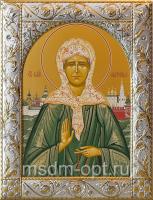 Матрона Московская блаженная, икона  в серебряной рамке, золочение, 140 х 180 мм (арт.00873-55)