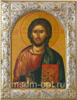 Господь Вседержитель, икона  в серебряной рамке, золочение, 140 х 180 мм (арт.01047-55)