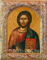 Господь Вседержитель, икона  в серебряной рамке, золочение, красная эмаль, 140 х 180 мм (арт.01047-55)