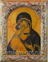 Владимирская икона Божией Матери, икона  в серебряной рамке, золочение, красная эмаль, 140 х 180 мм (арт.02094-55)