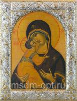 Владимирская икона Божией Матери, икона  в серебряной рамке, золочение, 140 х 180 мм (арт.02094-55)
