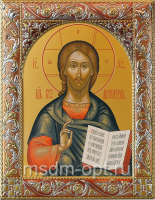 Господь Вседержитель, икона  в серебряной рамке, золочение, красная эмаль, 140 х 180 мм (арт.06105-55)