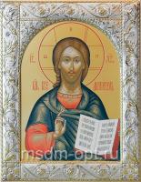 Господь Вседержитель, икона  в серебряной рамке, золочение, 140 х 180 мм (арт.06105-55)