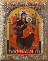 Всецарица икона Божией Матери, икона  в серебряной рамке, золочение, красная эмаль, 140 х 180 мм (арт.06231-55)
