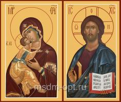 Венчальная пара икон Господь Вседержитель (арт.06120) и Божия Матерь Владимирская (арт.00205)