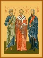 Андрей Первозванный апостол, Николай святитель, Феодор Ушаков праведный, икона (арт.06624)