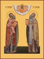 Антипа Пергамский, священномученик и Василий Великий святитель, икона (арт.06782)