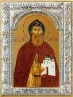 Даниил Московский благоверный князь, икона в серебряной рамке, золочение, 180 х 240 мм (арт.00412-85)
