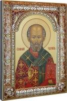 .Николай чудотворец, архиепископ Мир Ликийских, святитель, икона в посеребренной рамке, золочение, красная эмаль, 180 х 240 мм (арт.00728-85)