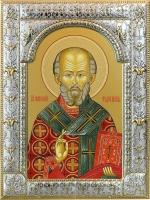 .Николай чудотворец, архиепископ Мир Ликийских, святитель, икона в серебряной рамке, золочение, 180 х 240 мм (арт.00728-85)