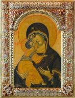 Владимирская икона Божией Матери, икона в серебряной рамке, золочение, красная эмаль, 180 х 240 мм (арт.02094-85)