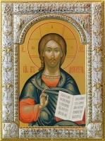 Господь Вседержитель, икона в серебряной рамке, золочение, 180 х 240 мм (арт.06105-85)