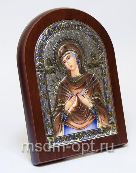 Семистрельная икона Божией Матери, серебряная икона, цветная