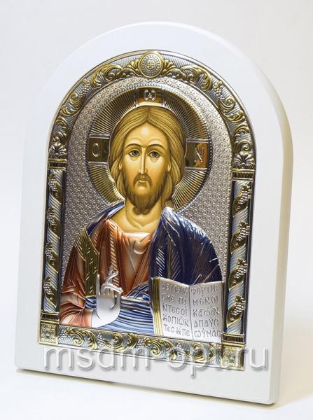 Господь Вседержитель, серебряная икона, цветная