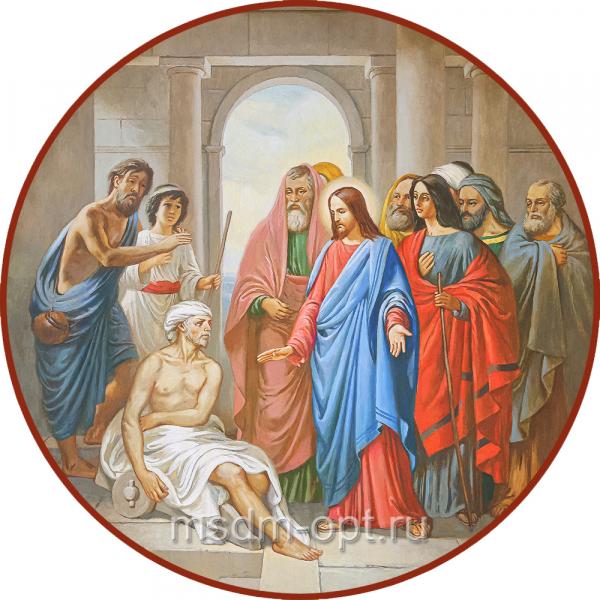 Господь исцеляет слепорожденного, икона (арт.04693)