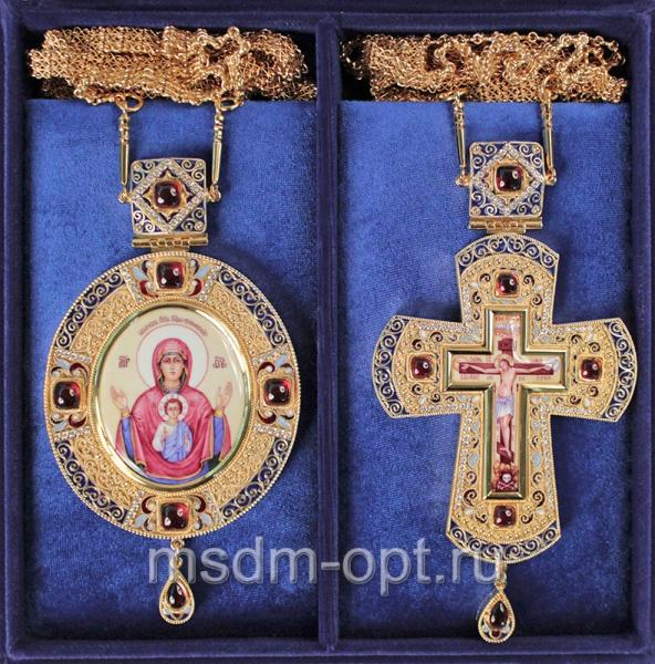 Крест и Панагия Божия Матерь «Знамение» с цепями (арт.35937)