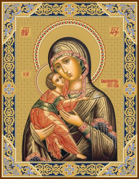 Владимирская икона Божией Матери, чеканная икона (арт.55204)