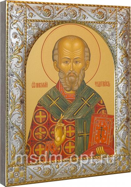 .Николай чудотворец, архиепископ Мир Ликийских, святитель, икона в посеребренной рамке, золочение, 140 х 180 мм (арт.00728-55)