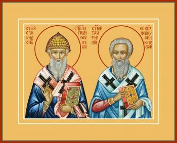 Спиридон Тримифунтский и Трифиллий, епископ Левкуссийский, святители, икона (арт.770)