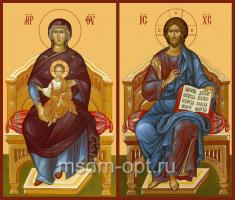 Венчальная пара икон Господь Вседержитель (арт.00107) и Божия Матерь на престоле (арт.00207)