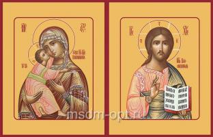 Венчальная пара икон Господь Вседержитель (арт.00108) и Божия Матерь Владимирская (арт.00208)