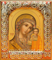 Казанская икона Божией Матери, икона  в посеребренной рамке, золочение, красная эмаль, 88 х 104 мм (арт.00210-15)