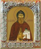 Даниил Московский благоверный князь, икона  в посеребренной рамке, золочение, красная эмаль, 88 х 104 мм (арт.00412-15)