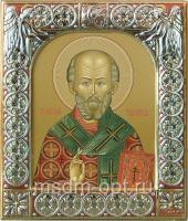 .Николай чудотворец, архиепископ Мир Ликийских, святитель, икона  в посеребренной рамке, золочение, красная эмаль, 88 х 104 мм (арт.00728-15)