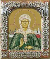 Матрона Московская блаженная, икона  в посеребренной рамке, золочение, красная эмаль, 88 х 104 мм (арт.00873-15)