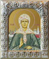Матрона Московская блаженная, икона  в посеребренной рамке, золочение, 88 х 104 мм (арт.00873-15)