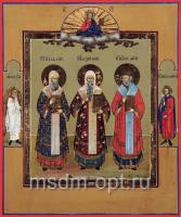 Петр, Алексий, Иона митрополиты Московские чудотворцы, икона (арт.03449)