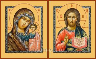 Венчальная пара икон Господь Вседержитель (арт.04112) и Божия Матерь Казанская (арт.04212)