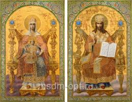Венчальная пара икон Господь Вседержитель (арт.04129) и Божия Матерь Державная (арт.04229)